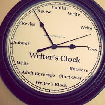 Writer's Clock (Image found via Joanna D'Angelo on Facebook)