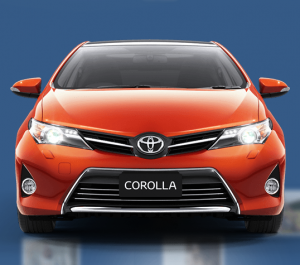 A Toyota Corolla as seen on the official website