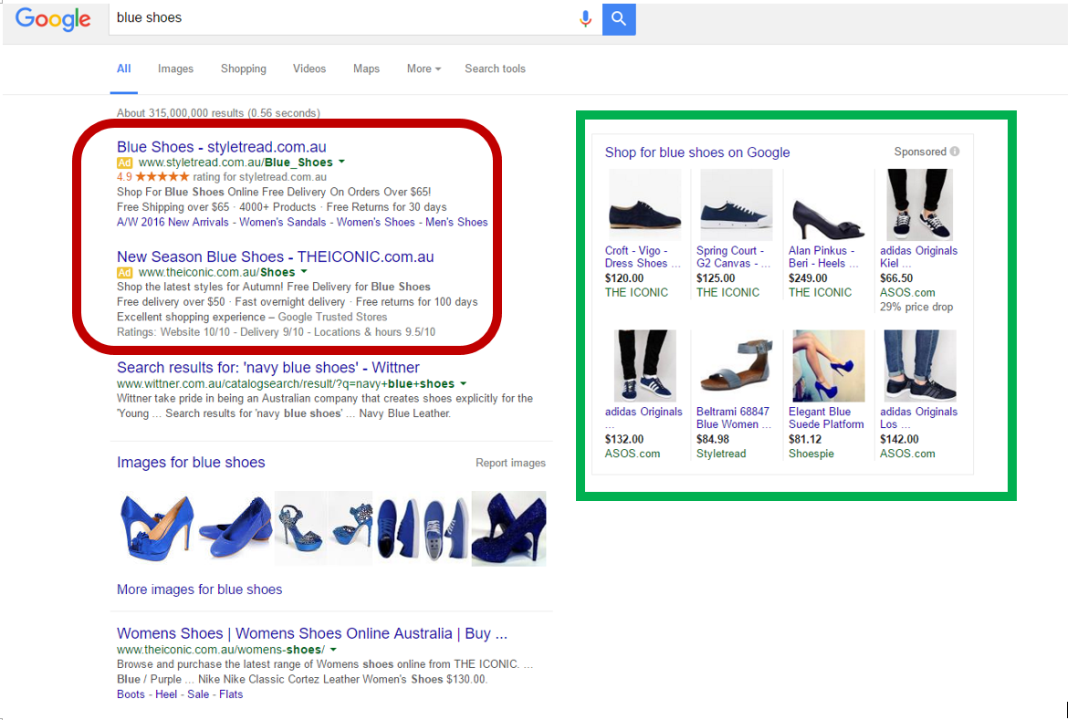 Search Engine Marketing example: results for blue shoes