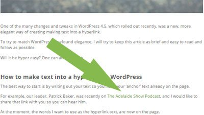 text to hyperlink in wordpress