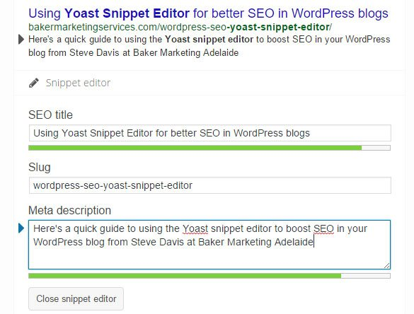 Using yoast snippet editor