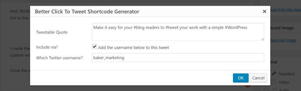 Better click to tweet screenshot by Baker Marketing
