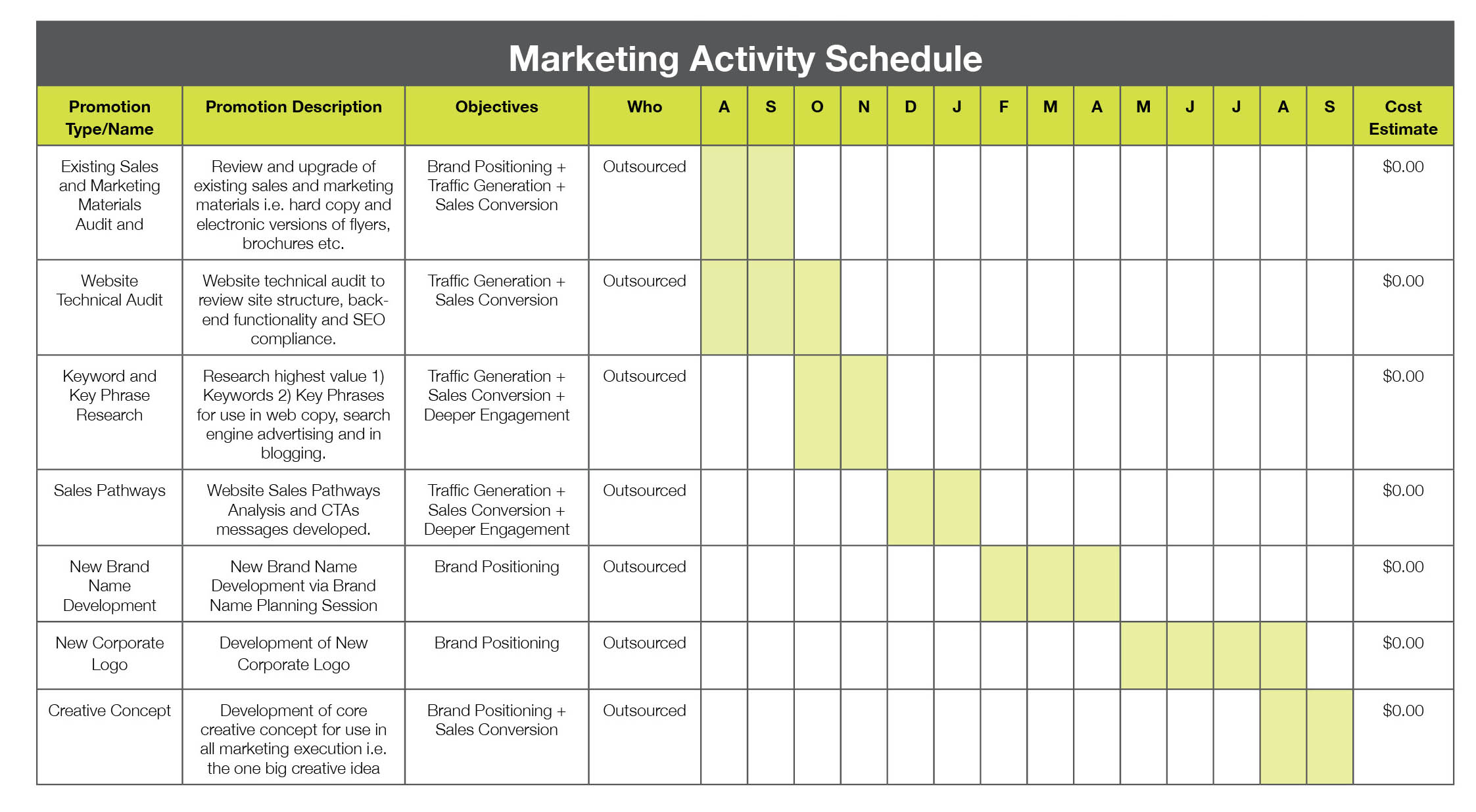 Planning your marketing activitiy baker marketing for Activity timetable template